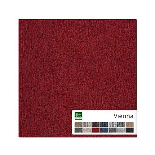 casa pura Carpet Tile Vienna - Baldosas Adhesivas para alfombras 50x50 cm | Cuadrados de alfombras de Piso para Interiores | Elegantes Diseños | 12piezas (3 m²) | Rojo