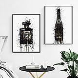 Carteles e impresiones de botellas de perfume de moda Botella de champán abstracta Arte de la pared Pintura en lienzo Vogue Cuadros de la pared Decoración sala de estar 40×60cm×2 Sin marco
