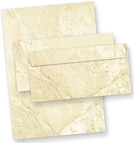 TATMOTIVE Marmor Briefpapier Set mit Umschläge, beidseitig braun marmoriert - 25 Sets