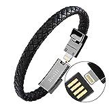 Bsolli Pulsera con cable de carga USB para iPhone y iPad (S, negro)