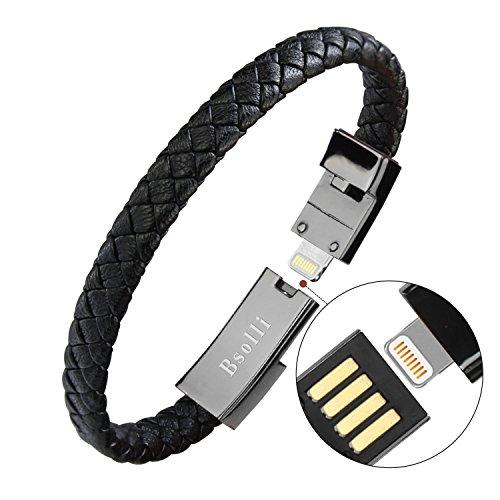 Bsolli - Bracciale cavo di ricarica USB in pelle per iPhone/iPad