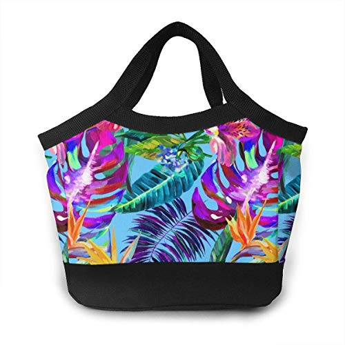 Almuerzo Bolso Reusable Insulated Lunch Bag Cooler Tote Box Zipper Closure for Woman Man Work Pinic Or Travel (Island Style Floral Summer Beach Surf with Tropical Leaf)