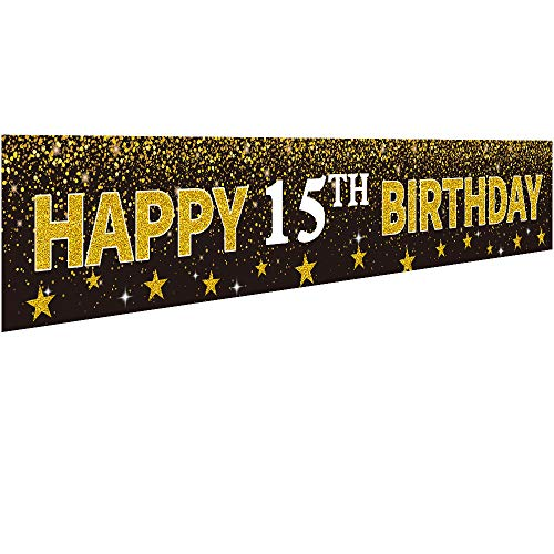 Ushinemi Happy 15th Birthday Banner Party Decorations, 15 Years Old Birthday Backdrop, Cheer to Fifteen Year Anniversary Large Signs, 9.8X1.6Ft, Gold and Black