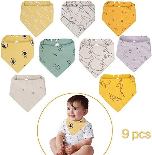 Viedouce Baby Lätzchen Dreieckstuch mit 2 Verstellbares Druckknopf,100% Bio-Baumwolle,Weiche & Absorbierende, Halstücher Drool Lätzchen für Jungen Mädchen