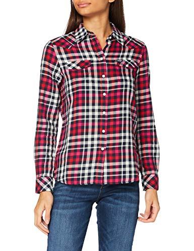 Wrangler Slim Regular Western Camisa, Azul Oscuro, S para Mujer
