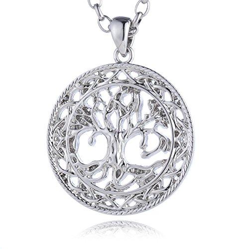 Morella Damen Edelstahl Halskette 70 cm mit Lebensbaum Anhänger antikes Mittelalter 34 mm und Samtbeutel