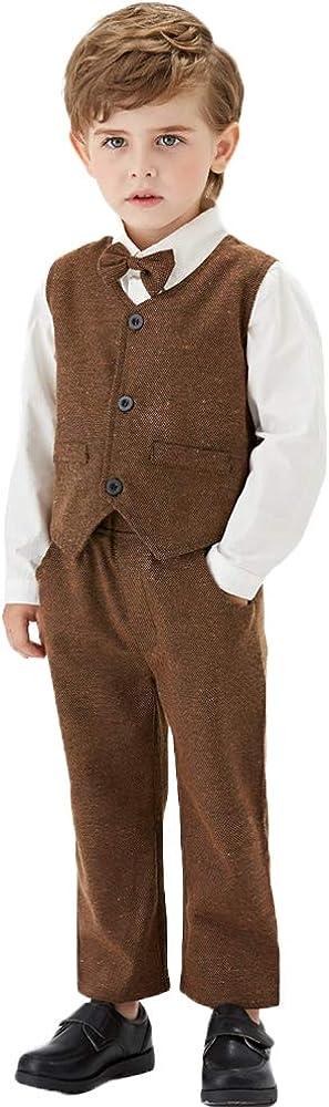Toddler Boys Formal Suits Kids Classic Fit Dresswear Suit Vest Set Outfit