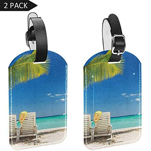 LORVIES Relaxing Scene Op Afgelegen Strand met Palm Boom Stoelen en Boten Panoramische Foto Bagage Tags Reizen Labels Tag Naam Kaarthouder voor Bagage Koffer Tas Rugzakken, 2 PCS
