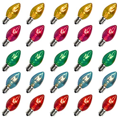 Monkeydg 25 Pack C7 Multi-Color Christmas Replacement Bulbs C7 Clear Outdoor String Light Replacement Bulbs, C7/E12 Candelabra Base, 5 Watt