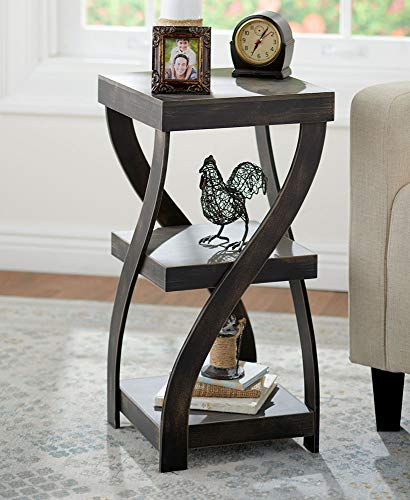 Twisted Side Table - Modern Accent Table with Distressed Black Finish