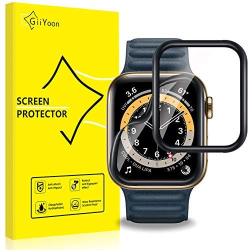 GiiYoon-4 Piezas Protector Pantalla para Apple Watch 40mm Series 6/5/4/SE,[TPU-Film] [3D Cobertura Completa][Sin Burbujas] [Alta Definicion][Adsorcion anhidra] HD Suave Protector.