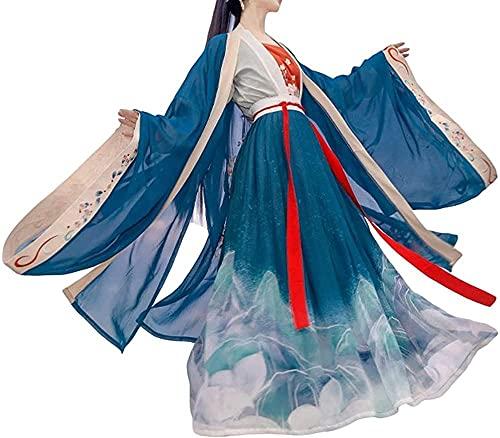 Hanfu - Disfraz tradicional de Hanfu para mujer, traje tradicional de Hanfu para mujer, disfraz tradicional para adulto para espadas de cosplay y hombre, talla Xl_Blau