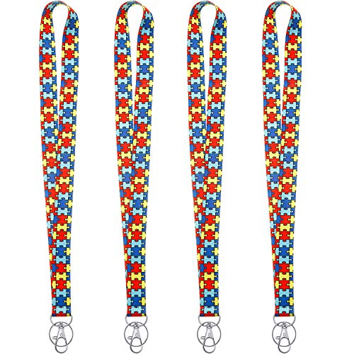 4 Pieces Autism Lanyard, Autism Awareness Puzzle Piece Print Lanyard Keychain for ID Badge Holder with Swivel Hook