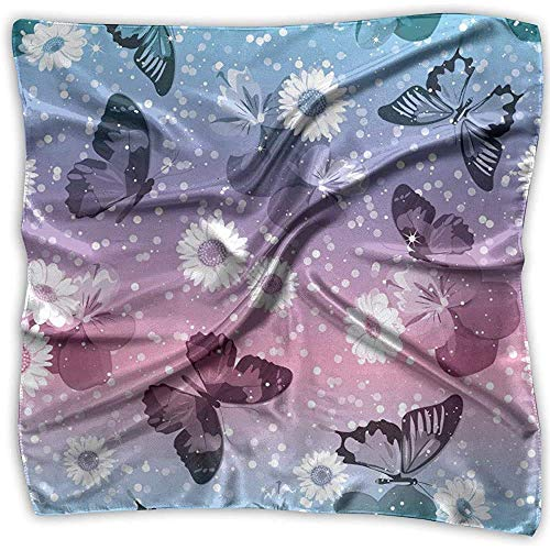 Pañuelo, pañuelo de mariposas rosas y azules brillantes, pañuelos de colores para pesca deportiva, yoga, 100X100CMx