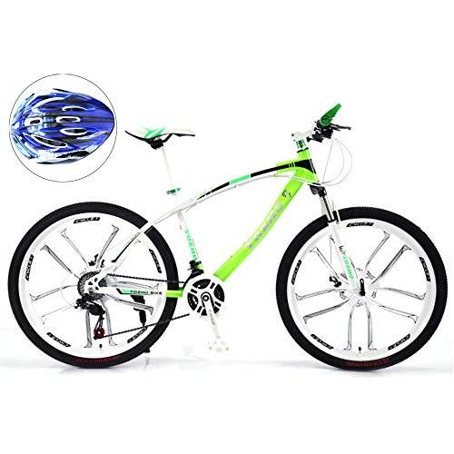 @Y.T Mountainbike 24/26 Zoll, Verstellbarer Sitz verdickter Kohlenstoffstahlrahmen 30-Gang-Doppelscheibenbremsen