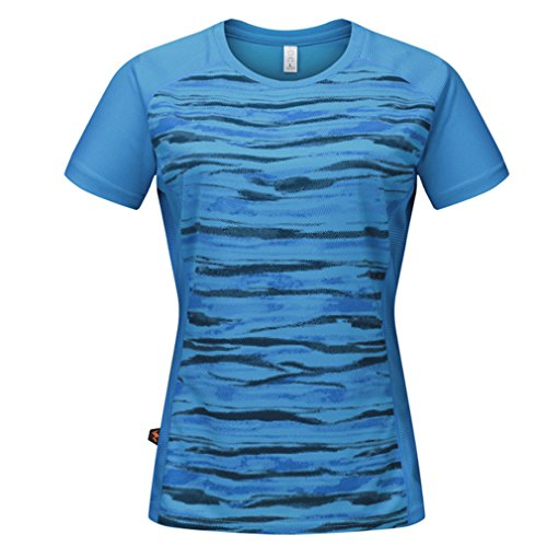 emansmoer Femmes Camo Quick Dry Wicking Respirant Sports Tee Shirt Dames Casual Ras du Cou Course Fitness Pêche Camping Manches Courtes T-Shirt (XXX-Large, Bleu)