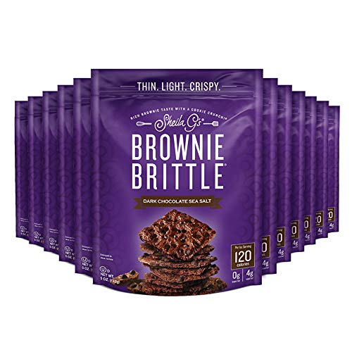 Sheila G's Brownie Brittle, Low Calorie, Sweets and Treats Dessert, Healthy Chocolate, Thin Sweet Crispy Snack - Rich Brownie Taste with a Cookie Crunch - Dark Chocolate Sea Salt, 5 oz., Pack of 6