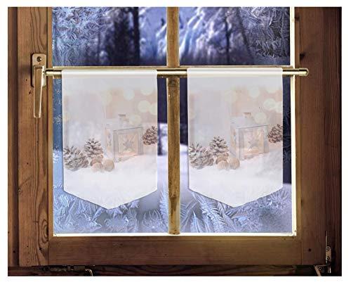 2er Set Scheibenhänger WINTERLICHE Laterne Weihnachtsgardine winterliche Landhausdeko
