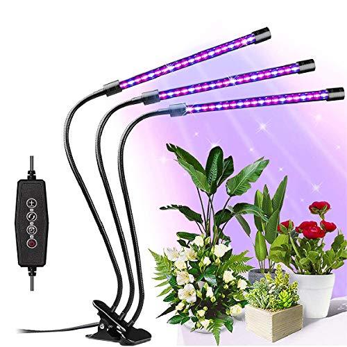 LED Pflanzenlampe, SRUIK 30W 60 LEDs Pflanzenlicht Wachstumslampe Vollspektrum für Zimmerpflanzen mit Zeitschaltuhr, 3 Modus, 6 Arten von Helligkeit für Garten Zimmerpflanzen Überwinterung