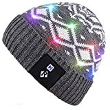 Qshell LED String Leuchten Beanie Hut Strickmütze mit Kupferdraht Bunte Lichter 4 Füße 18 LEDs für Männer Frauen Innen und Outdoor, Festival, Feiertag, Feier, Parteien, Bar, Grau