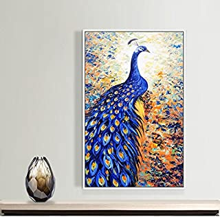 Paintsh Living Room Decoration Painting Porch Hanging Study Study Office Wall Decoration Dream Elk, 80 * 120Cm, Peacock Da...
