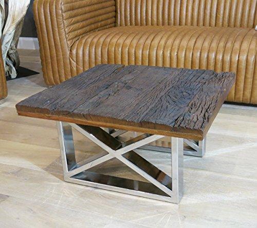 *Vintage Wohnzimmertisch Couchtisch Tisch Schwemmholz Treibholz Möbel Maison Chrom Deko (70x37x70)*