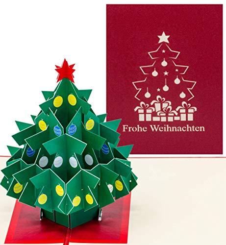 Pop Up Weihnachts-Karte, X-Mas-Karte, mit einem Weihnachtsbaum und Frohe Weihnachten Aufschrift. Modernes Design, Geschenkkarte, Überraschungskarte mit Glitzer
