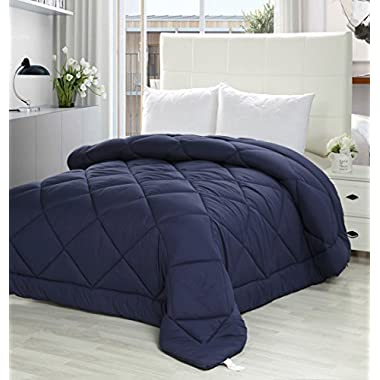 Utopia Bedding King Comforter Duvet Insert Navy - Quilted Comforter with Corner Tabs - Plush Siliconized Fiberfill, Box Stitched Down Alternative Comforter, Machine Washable