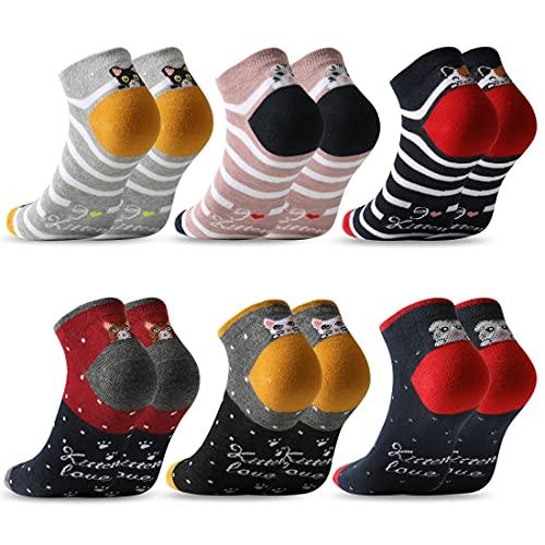 MOCOCITO Calcetines Tobilleros Mujer Calcetines Mujer Calcetines Divertidos 6/12 Pares Calcetines Estampados Calcetines Cortos Mujer Niña|Tall:35-42