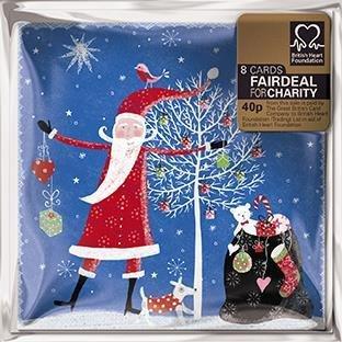 Pack of 8 Mini Santa British Heart Foundation Charity Christmas Cards Xmas Card Packs