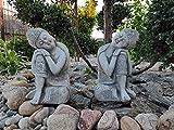 Juego de 2 figuras de Budas Konagama para dormir, mirando a izquierda y derecha, hechas de piedra fundida, decoración para interiores y exteriores