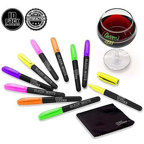 (10) Wine Glass Markers Pens Glass Graffiti Premium Neon Writer Marker Liquid Chalk Pen & Wipe Cloth - Alternative To Party Wine Charms For Use On Glasses Crystal Windows (Neon - 10 Pack)