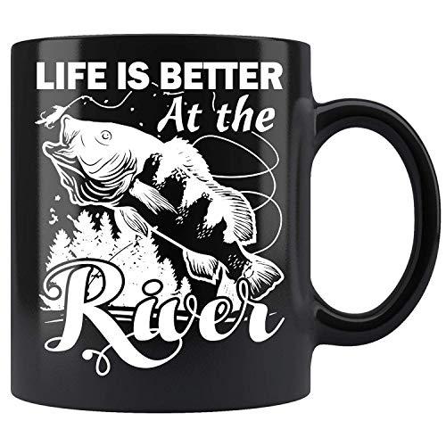 La vida es mejor en el río - Tazas de café de cerámica negra (11 oz)