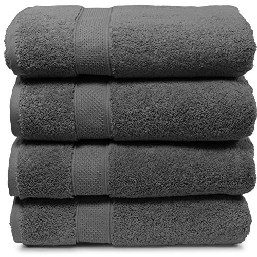 Maura 4 Piece Bath Towel Set. Extra Large 30'x56' Premium Turkish Towels. Thick, Soft, Plush and Highly Absorbent Luxury Hotel & Spa Quality Towels -...