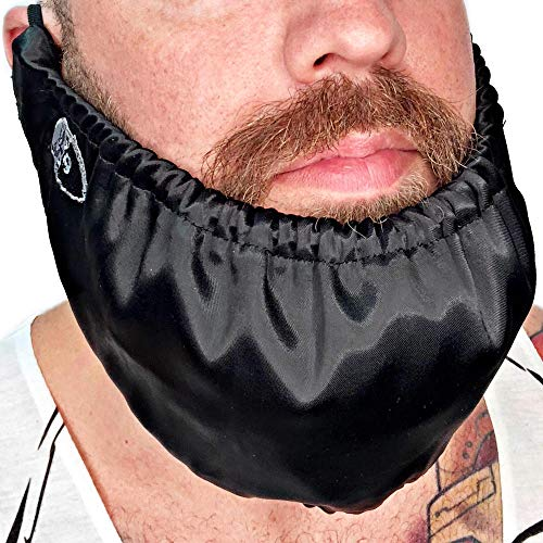 Beard Bandana - Mens Bedtime Bib Made In USA - Adjustable Facial Hair Apron Guard Bonnet Rag - Beard Gains (Short String Over Ear)
