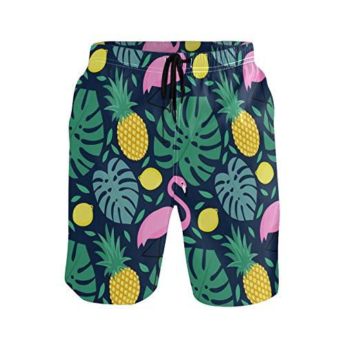 Ahomy Pantalones cortos de secado rápido para hombre, palmeras tropicales, flamenco, piña, limón, bañador con forro de malla