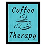 Xukongtanl Wall Art -Coffee is Always A Good Idea-Restaurant,Kitchen Inspirational Phrase,Decorative Picture Frame.Vintage Blue Denim Background - 12x10in
