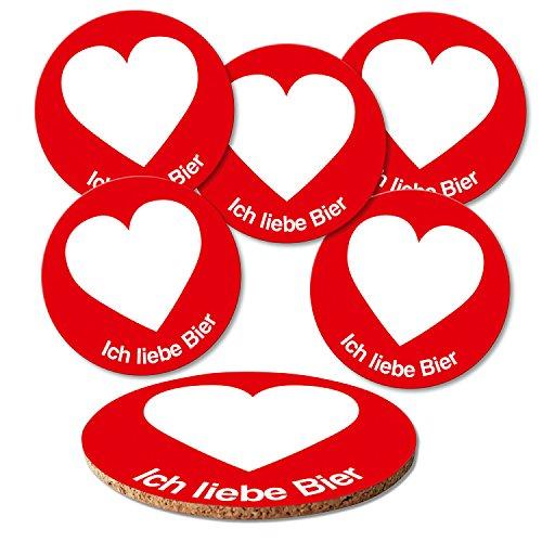 ADDIES Glas-Untersetzer 6-TLG.Set ICH Liebe Bier Emojis und Bier in hochwertiger Klarsicht-Geschenkbox und Korkrückseite, rund