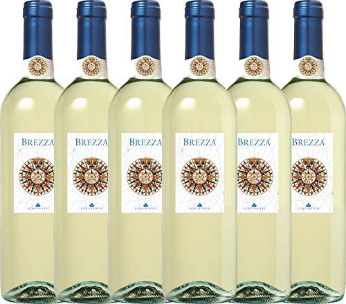 VINELLO 6er Weinpaket Weißwein - Brezza Bianco 2019 - Lungarotti mit Weinausgießer | trockener Weißwein | italienischer Sommerwein aus Umbrien | 6 x 0,75 Liter