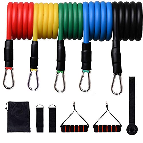 IYUT Resistance Bands Set 11 Pack Exercise Bands with Door Anchor, Legs Ankle Straps, Handles and Waterproof Carry Bag for Home Workouts Physical Therapy Gym Training Yoga