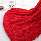 Homore Soft Fluffy Blanket Fuzzy Sherpa Plush Cozy Faux Fur Throw Blankets for Bed Couch Sofa Chair Decorative, 50''x60'' Red