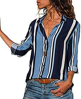 KTHGSBM shirt Ladies Shirts Striped Tunic Plus Size Femme Women Blouses Floral Print Long Sleeve Turn Down Collar Blouse L Ivory