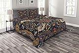 ABAKUHAUS Paisley Tagesdecke Set, Marokkanische Floret Antike, Set mit Kissenbezügen Weicher Stoff, für Doppelbetten 264 x 220 cm, KönigsBlau & Sandbraun