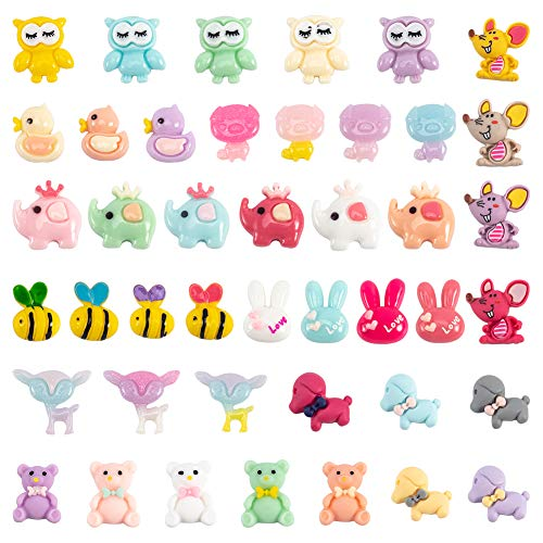 SUNNYCLUE 100Pcs 10 Styles Animal Resin Cabochon Slime Charms Resin Flatback Charms Mixed Bee Elephant Bear Mouse Dog Flatback Slime Beads for DIY Scrapbooking Jewelry Making Crafts Making Supplies