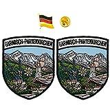 A-ONE Garmisch-Partenkirchen Schild Patch 2 Stück + Deutschland-Flagge Abzeichen 1 Stück Bayern Wahrzeichen Patches & Deutschland Ranger-Pin