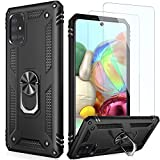 LUMARKE Galaxy A51 Case with Screen Protector(2 Pack,Pass 16ft Drop Test Military Grade Heavy Duty Cover with Magnetic Kickstand,Protective Phone Case for Samsung Galaxy A51 Black