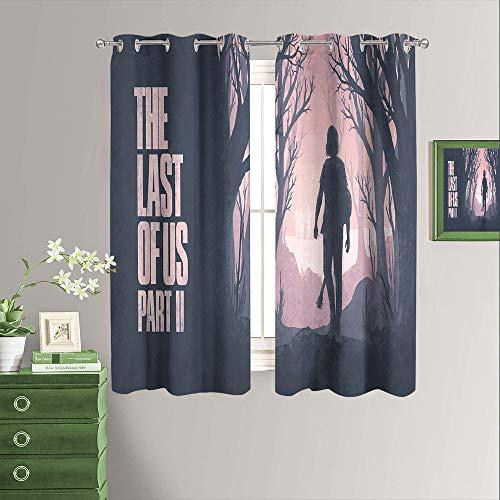 Last of Us Part ll Game Home Cortinas decorativas térmicas aisladas para la sala de estar, juego de 2 paneles de ancho x largo 63 pulgadas