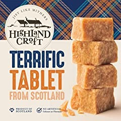 Smooth medium texture tablet with deep caramel undertones Product of Scotland No Artificial colours or flavours