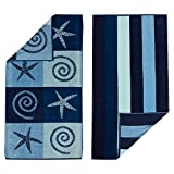 100% Cotton 2-Pack Beach Towel. Soft Absorbent Quick Dry Towel Set. Playa Collection. (30' x 60', Starfish / Stripe)