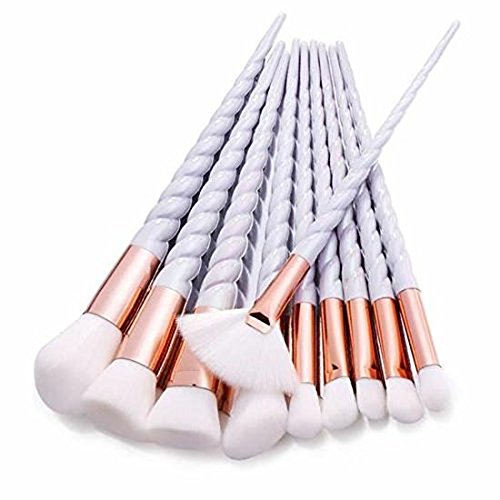Prochive Lot de brosse de maquillage outils sourcils Eyeliner Lip Blush Cosmétique Concealer Pinceaux Vis Poignées 10 pcs